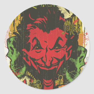 Joker Retro Comic Book Montage Classic Round Sticker
