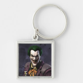 Joker Silver-Colored Square Keychain