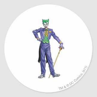 Joker stands with Cane Classic Round Sticker