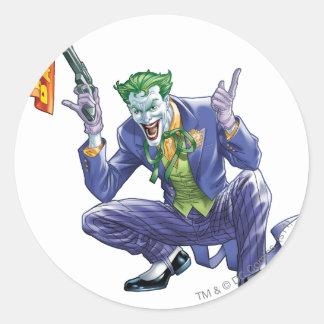 Joker with fake gun classic round sticker
