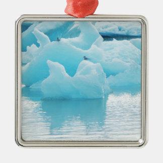Jökulsárlón terns Silver-Colored square ornament