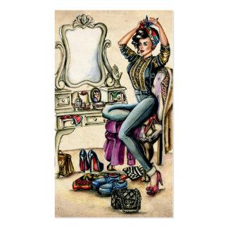 Jolie beauté de pin-up carte de visite standard