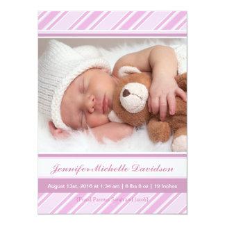 Jolies annonces de naissance de bébé de rayures carton d'invitation  13,97 cm x 19,05 cm