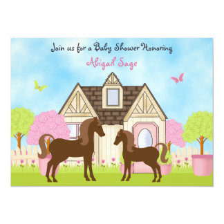 Jolies invitations de baby shower de cheval de