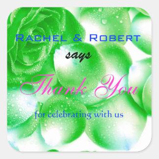 Jolis autocollants roses d'étiquette de Merci de