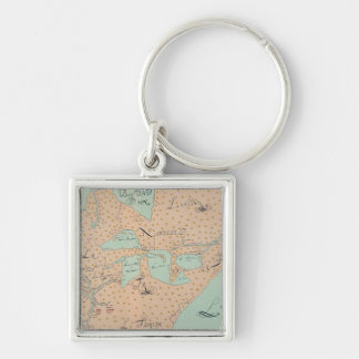 JOLLIET: NORTH AMERICA 1674 Silver-Colored SQUARE KEYCHAIN