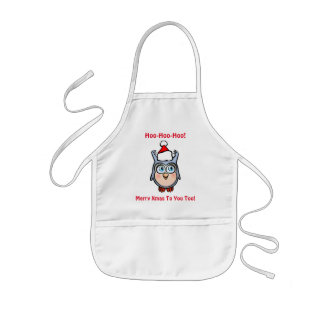 Jolly Baby Owl With Christmas Hat Kids Apron