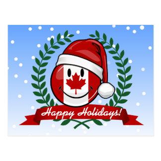 Jolly Canadian Flag Christmas Style Postcard