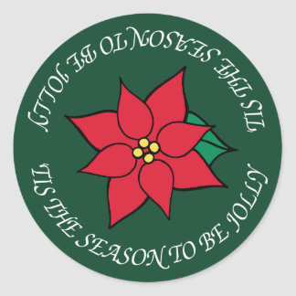 Jolly Christmas Red Poinsettia Holiday Stickers