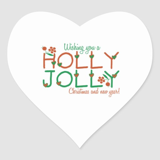 Jolly Christmas Heart Stickers