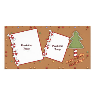Jolly Christmas - Tree and Candy Customized Photo Card