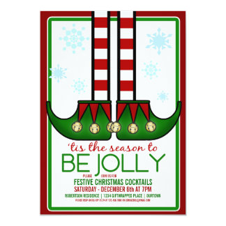 Jolly Elf Christmas Cocktail Party Invitation
