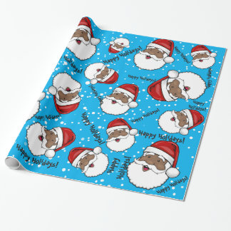 Jolly Ethnic Santa Claus Customized Wrapping Paper