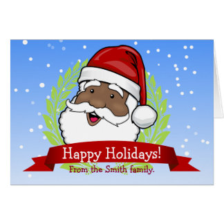 Jolly Ethnic Santa Custom Text Card