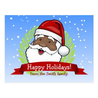 Jolly Ethnic Santa Custom Text Postcard