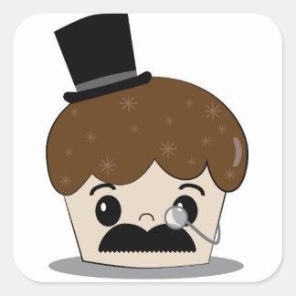 Jolly good mustache square sticker
