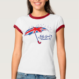 Jolly good weather eh? union jack umbrella t-shirt