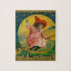 Jolly Halloween Vintage Witch Jigsaw Puzzle