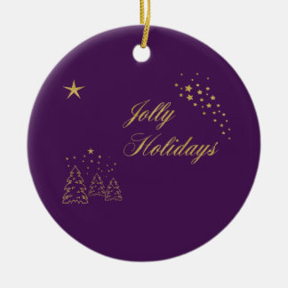 Jolly Holidays Golden Sparkle Ceramic Ornament