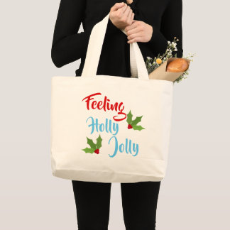 Jolly Holly Christmas Text Design Large Tote Bag