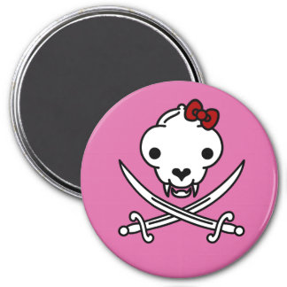 Jolly Kitty Pirate Skull and Bones Magnet