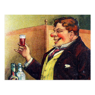 Jolly Man Toasting with Cognac Postcard