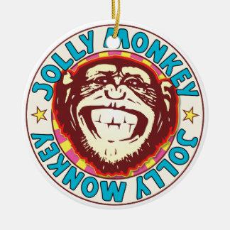 Jolly Monkey Round Ceramic Ornament
