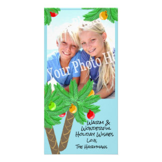 Jolly Palm Trees Holiday Greeting Card Personalized Photo Card