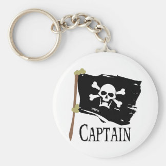 Jolly Roger Captain Basic Round Button Keychain