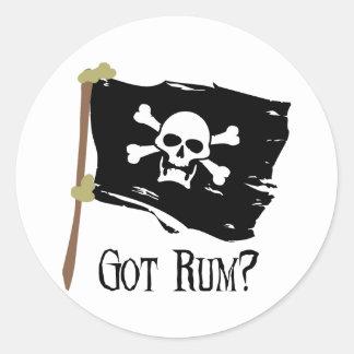 Jolly Roger Got Rum Round Sticker