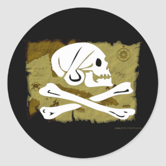 Jolly Roger Map #4 Classic Round Sticker