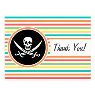 Jolly Roger on Bright Rainbow Stripes Post Card