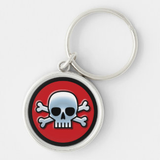 Jolly Roger on Red Keychain