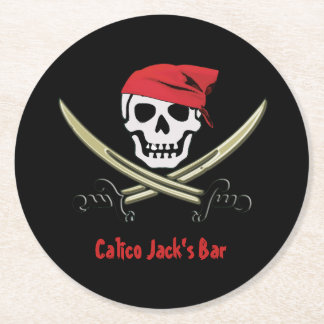 Jolly Roger Pirate Bar Coasters