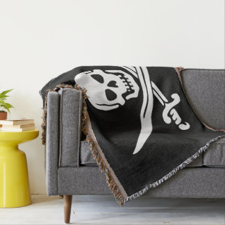 Jolly Roger Pirate Flag Throw Blanket