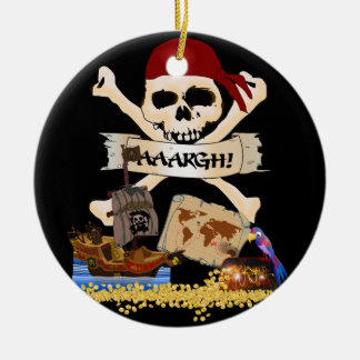 Jolly Roger, Pirate Ship & Pirate's Chest Ceramic Ornament