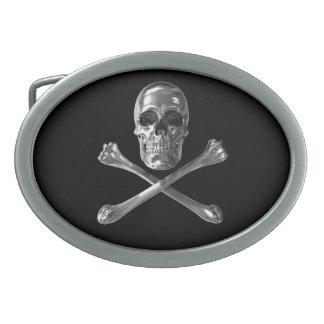 Jolly Roger Skull Oval Belt Buckle