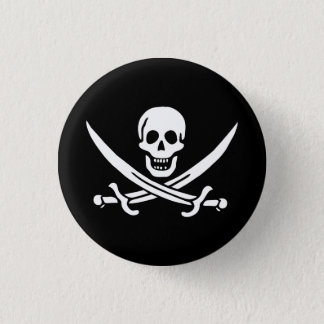 Jolly Roger Swords 1 Inch Round Button