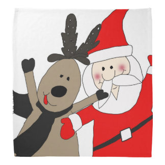 Jolly Santa and Reindeer #1 Bandana