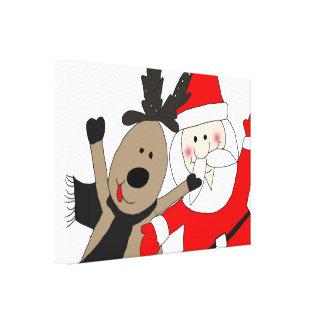 Jolly Santa and Reindeer #1 Canvas Print