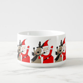 Jolly Santa and Reindeer #1 Chili Bowl