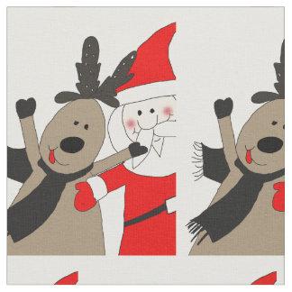 Jolly Santa and Reindeer #1 Fabric