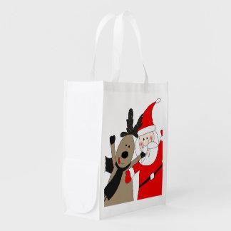 Jolly Santa and Reindeer #1 Grocery Bag