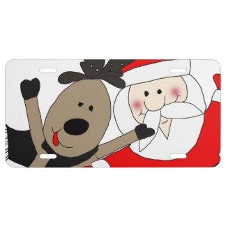 Jolly Santa and Reindeer #1 License Plate