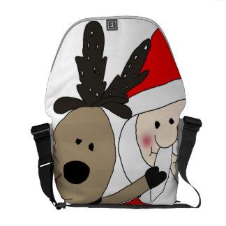 Jolly Santa and Reindeer #1 Messenger Bag