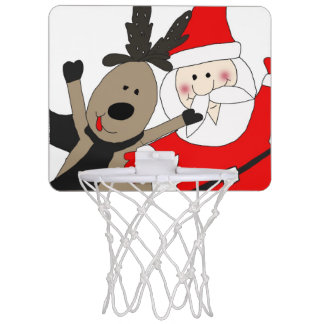 Jolly Santa and Reindeer #1 Mini Basketball Hoop