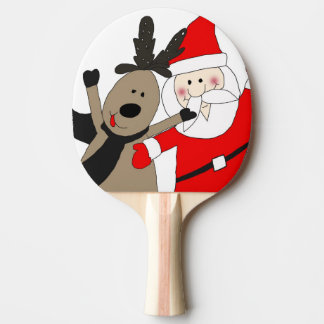 Jolly Santa and Reindeer #1 Ping Pong Paddle