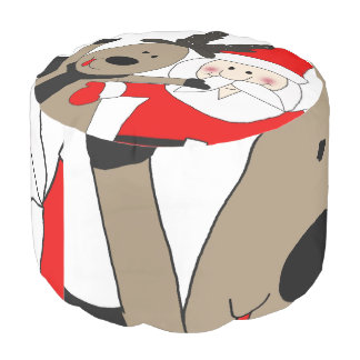 Jolly Santa and Reindeer #1 Pouf