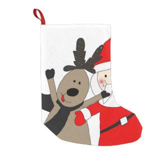 Jolly Santa and Reindeer #1 Small Christmas Stocking