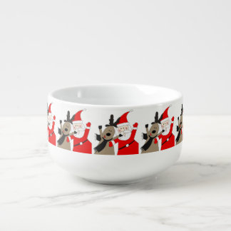 Jolly Santa and Reindeer #1 Soup Mug
